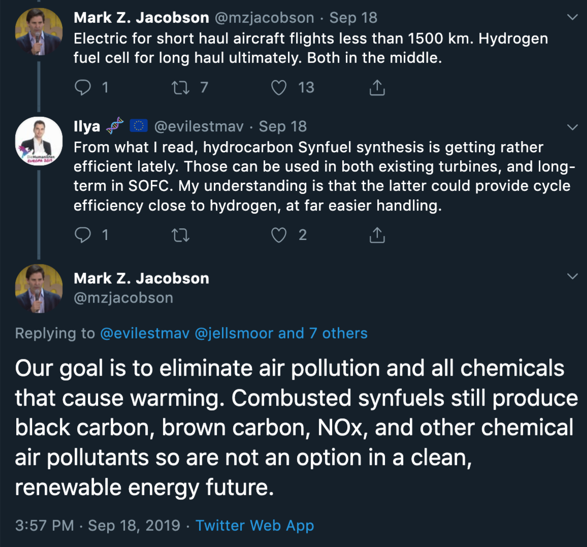 Mark Z. Jacobson twitter thread regarding hydrogen aviation