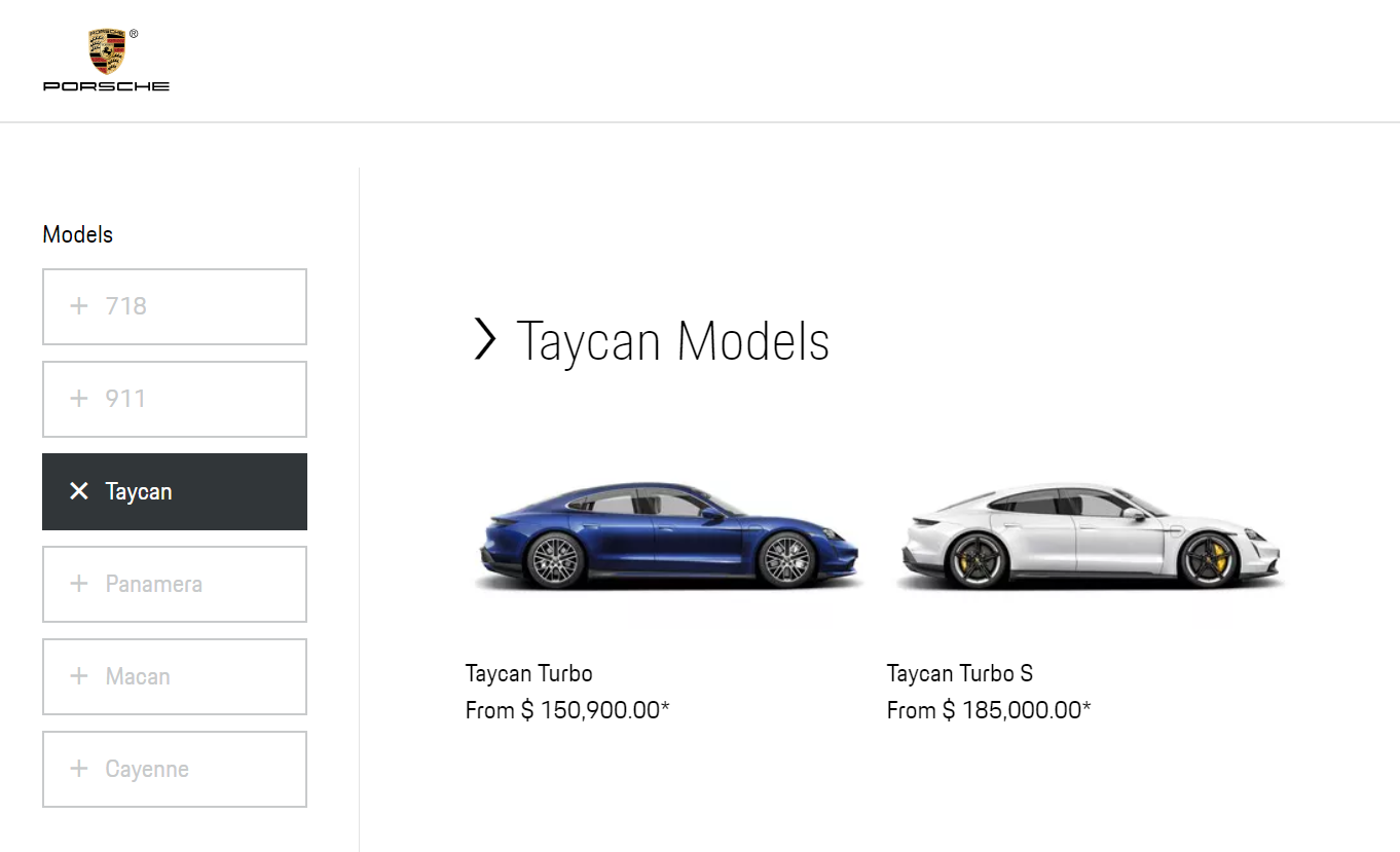 Porsche Taycan US Pricing