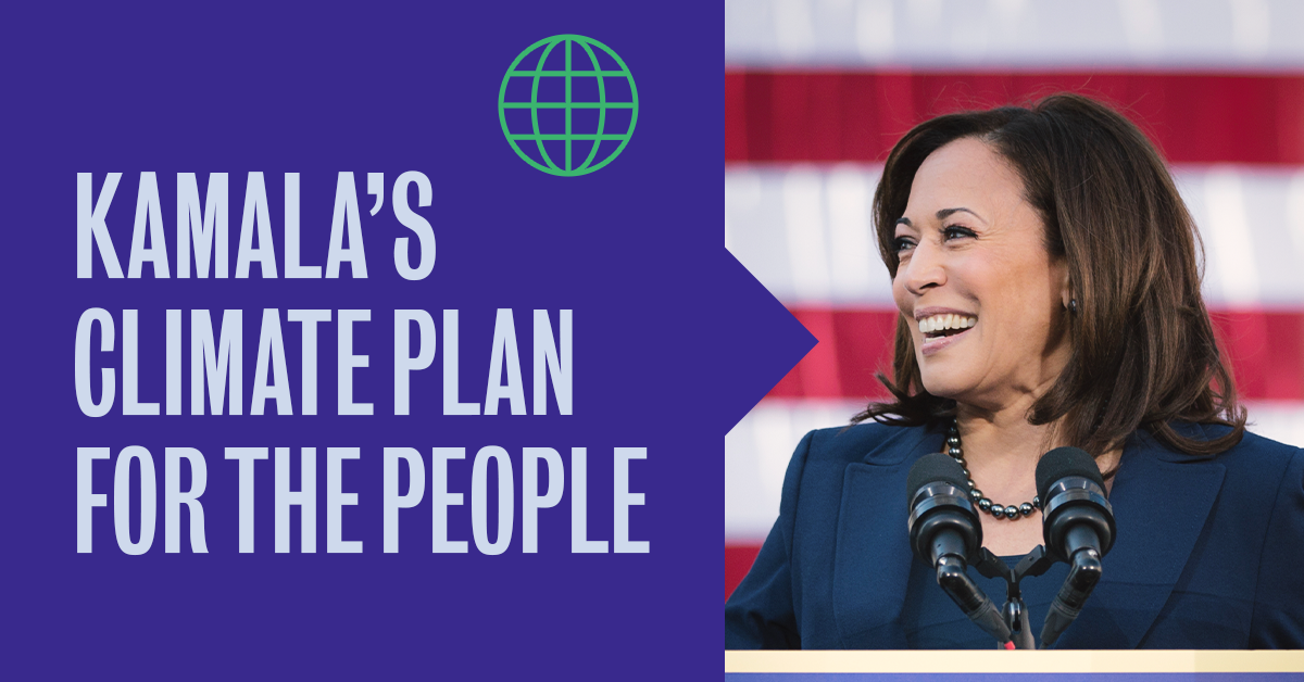 Kamala's climate plan for the people logo and picture