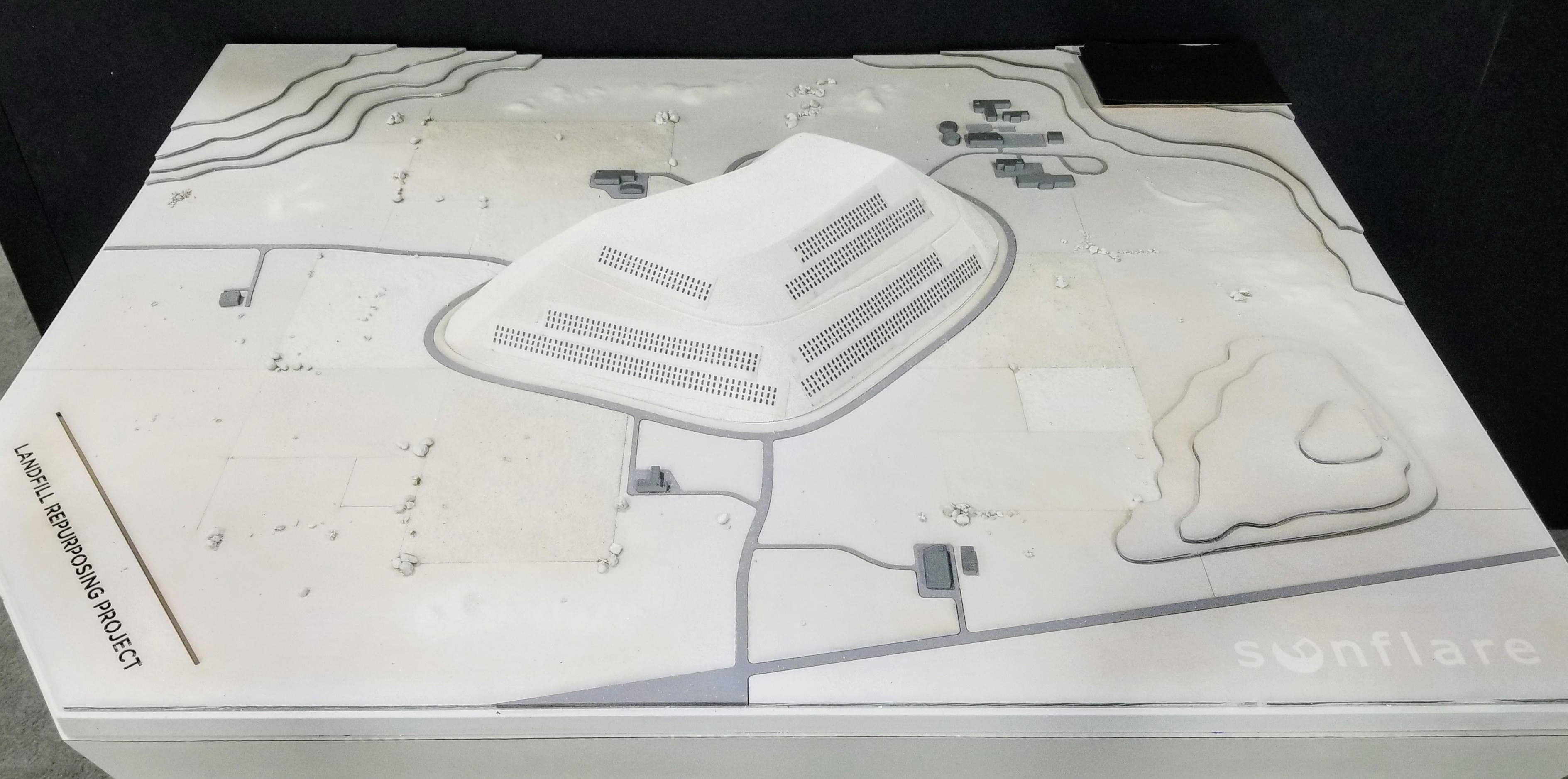 A model of the new 40 MW SunFlare solar project at a landfill in Israel