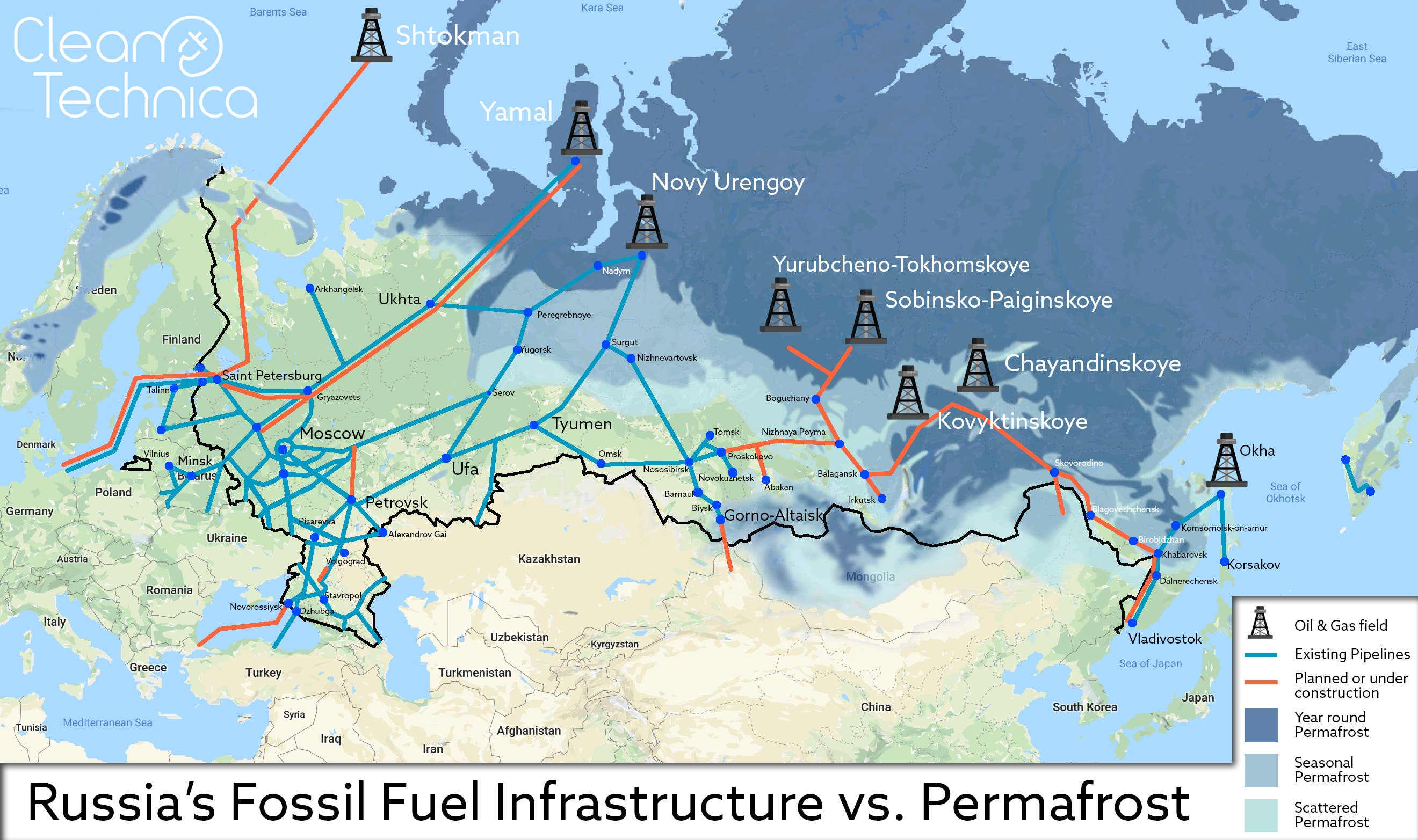 Map: Russsia's fossil fuel infrastructure vs permafrost