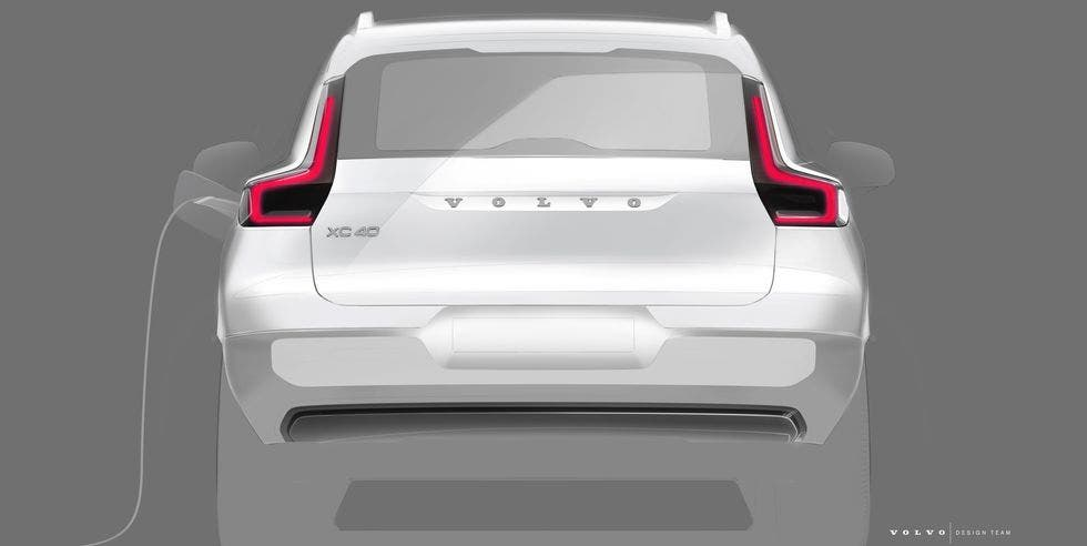 Volvo XC40 Electric sketched out, includes 'frunk'