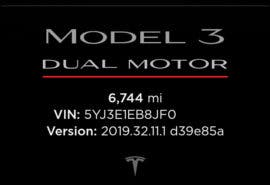 The Model 3 Performance is identified in the Tesla app with a red underline under the text