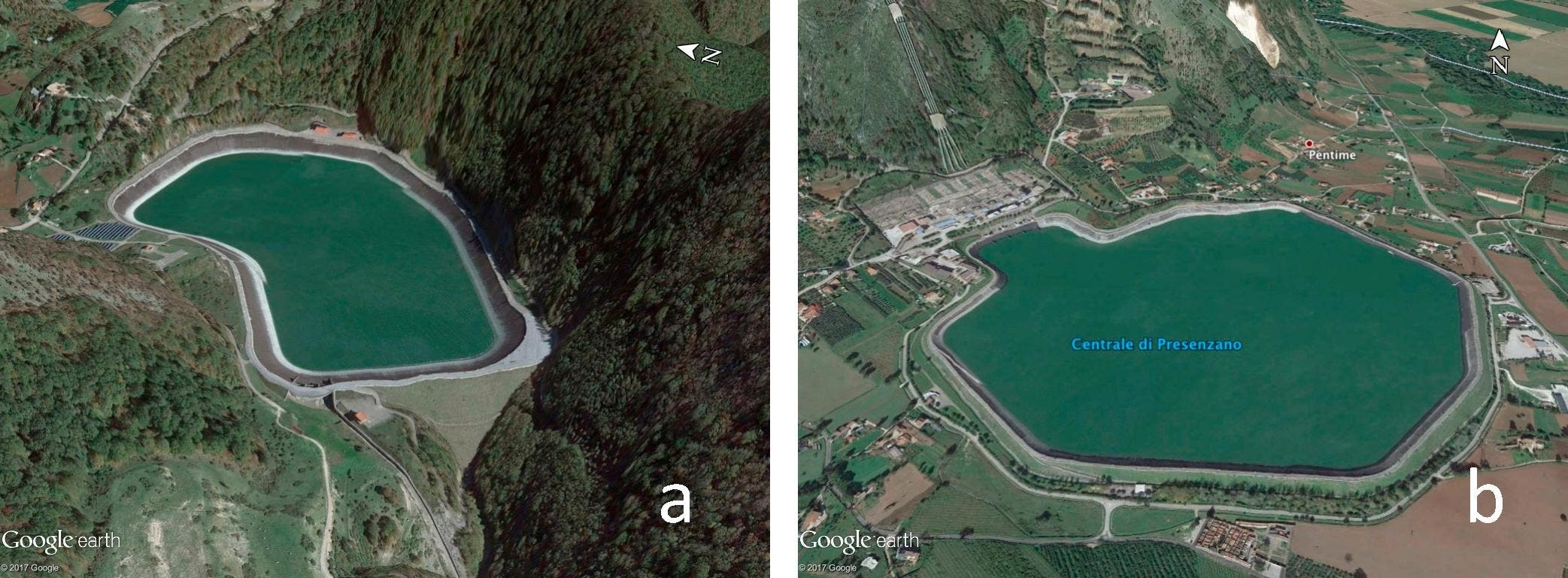 Upper and lower reservoirs of Italian closed loop pumped hydro system