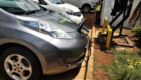 Image Caption: One of Nopia's Nissan Leafs charging at the Hub Mall, Karen, Nairobi: Picture by Remeredzai Kuhudzai