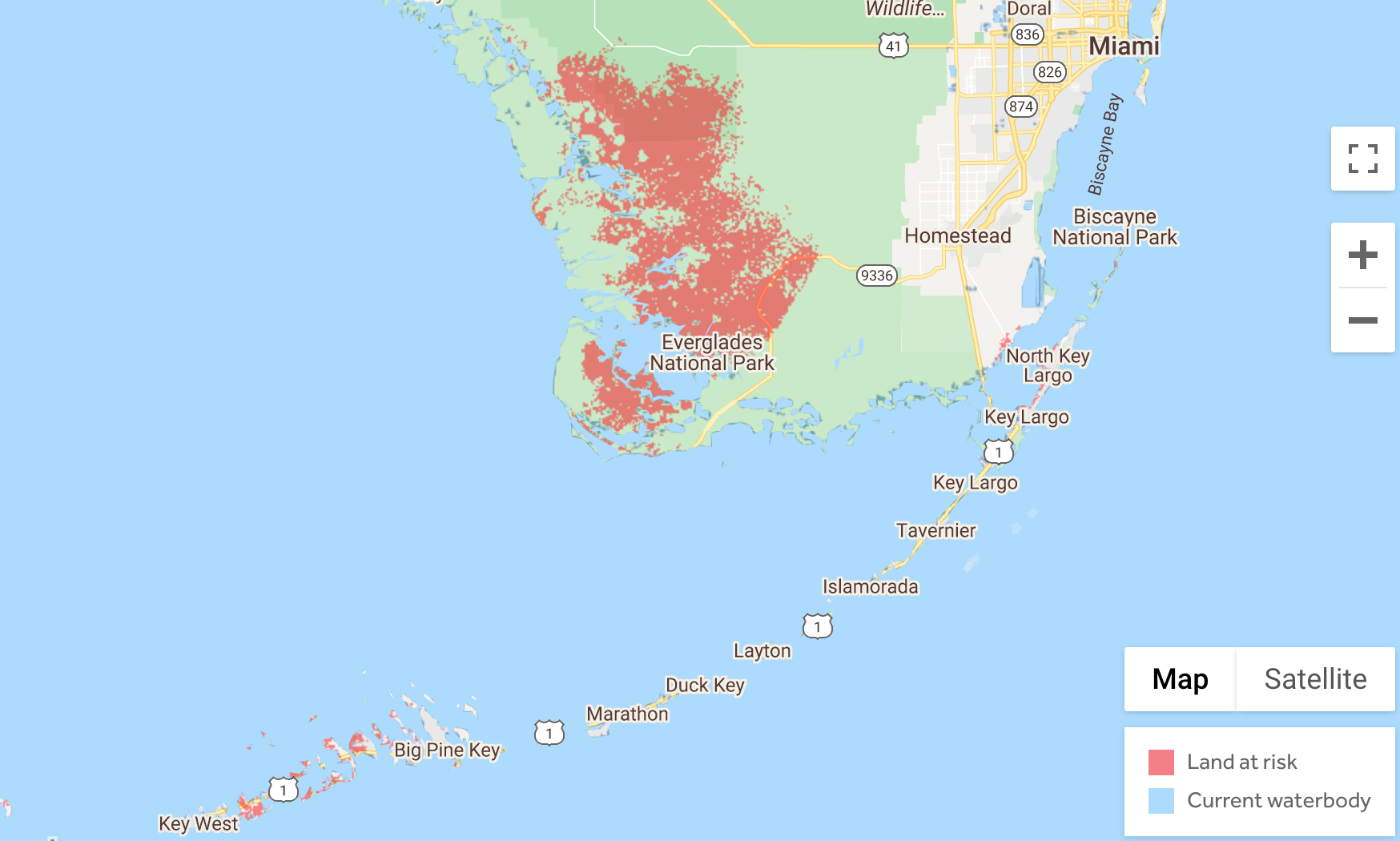 Image of southern Florida with sea level rise exposure with new CoastDEM data by 2050 in red
