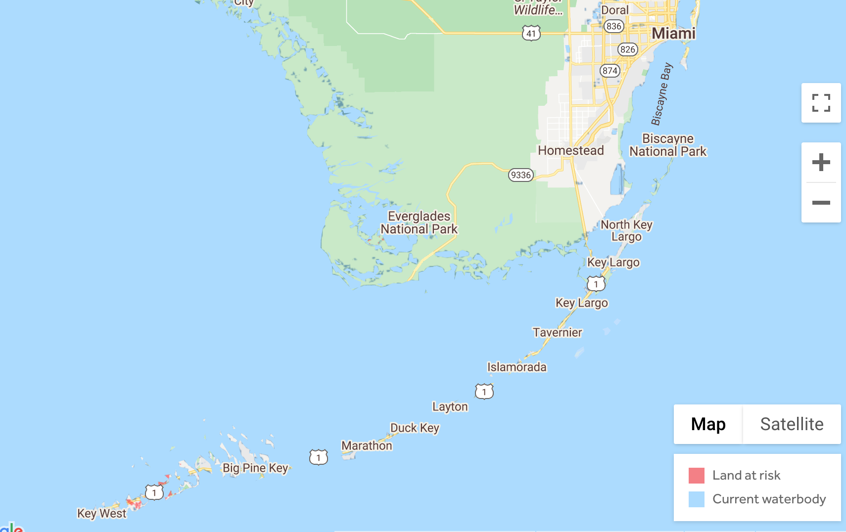 Image of southern Florida with sea level rise exposure with legacy data by 2050 in red