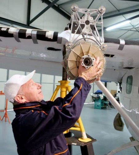 Technical Director Didier Esteyne prepares an ENGINeUS 45 motor for its fit-check on the wing mount of VoltAero's Cassio 1 flight test aircraft https://www.voltaero.aero/en/feature-stories/cassio-1-engineus-45/