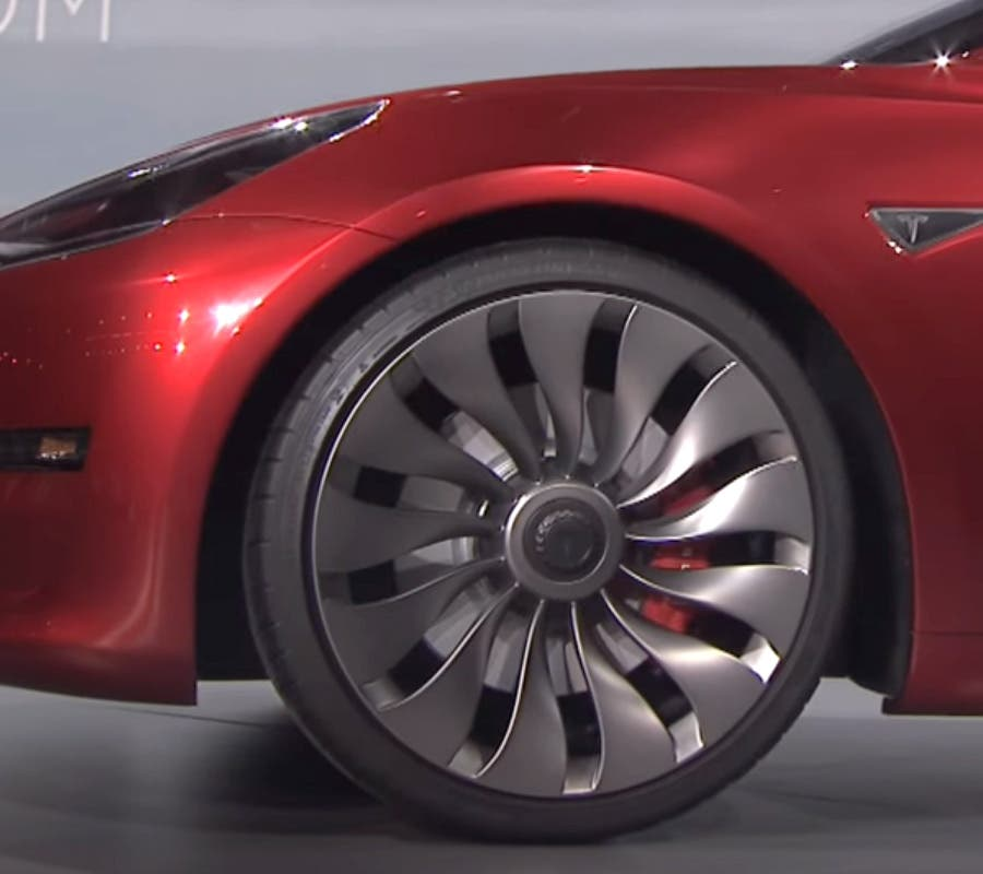 Wind-Turbine wheel as seen on a red Model 3 prototype at the unveil event last year. Photos by: Tesla.