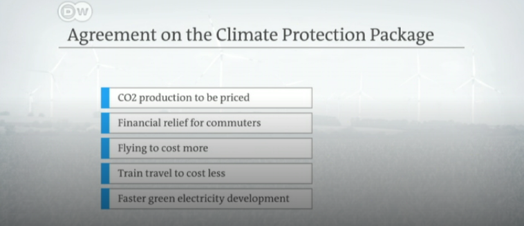 German carbon fee and climate plan