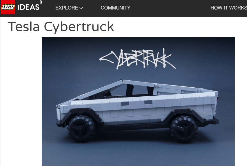 photo of LEGO Cybertruck, Cybertruck Sporks, & A Cybertruck Snapchat Filter image