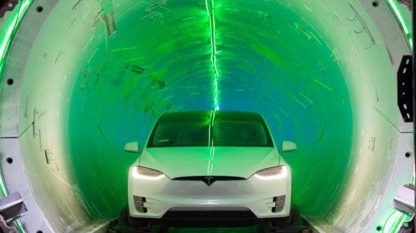 Tesla Model X inside The Boring Company's test tunnel underneath the SpaceX offices