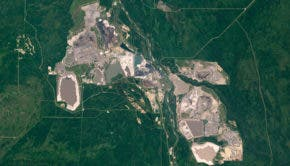 Alberta tar sands from space