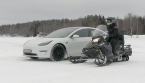 Tesla Model 3 vs. Electric Snowmobile Drag Race