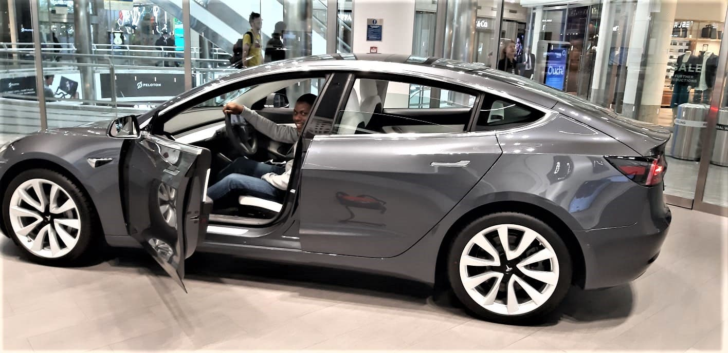 Image: A Tesla Model 3 on show at a Shopping Centre in the United Kingdom. Picture by Keith Kuhudzai