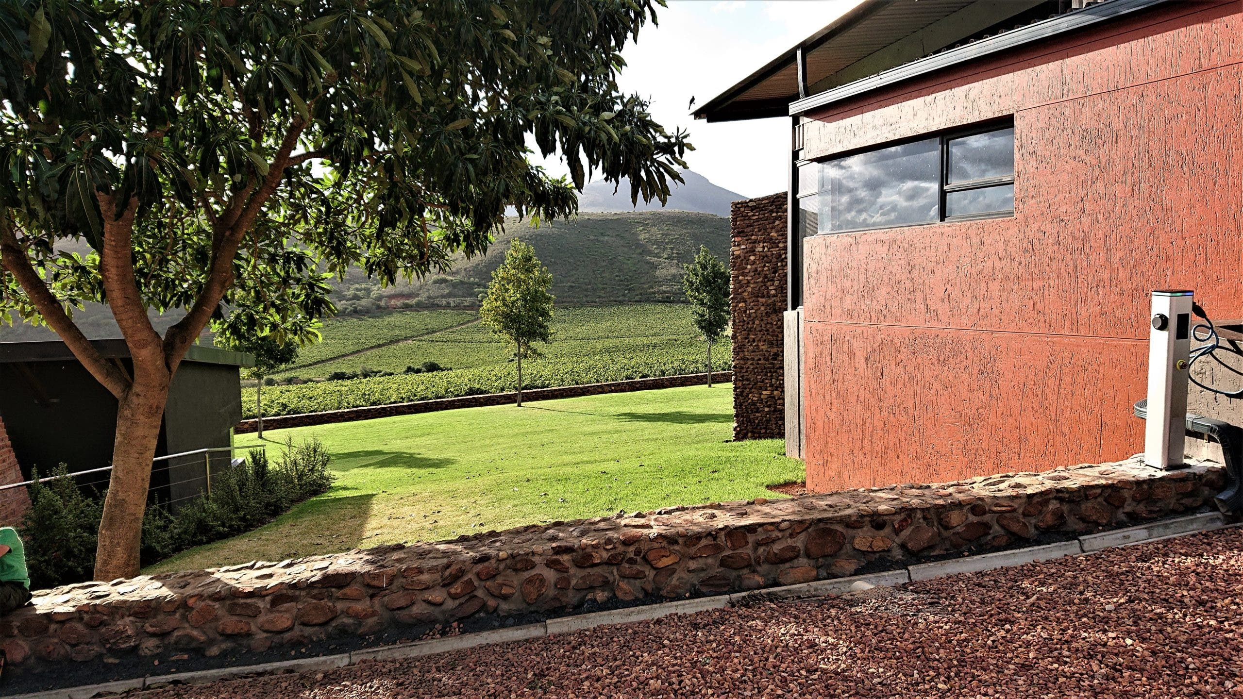 An evCrowdRoute Charging Station (22 kW AC) at Jakkalsvlei Wine Farm in Herbertsdale (Courtesy of evCrowdRoute)