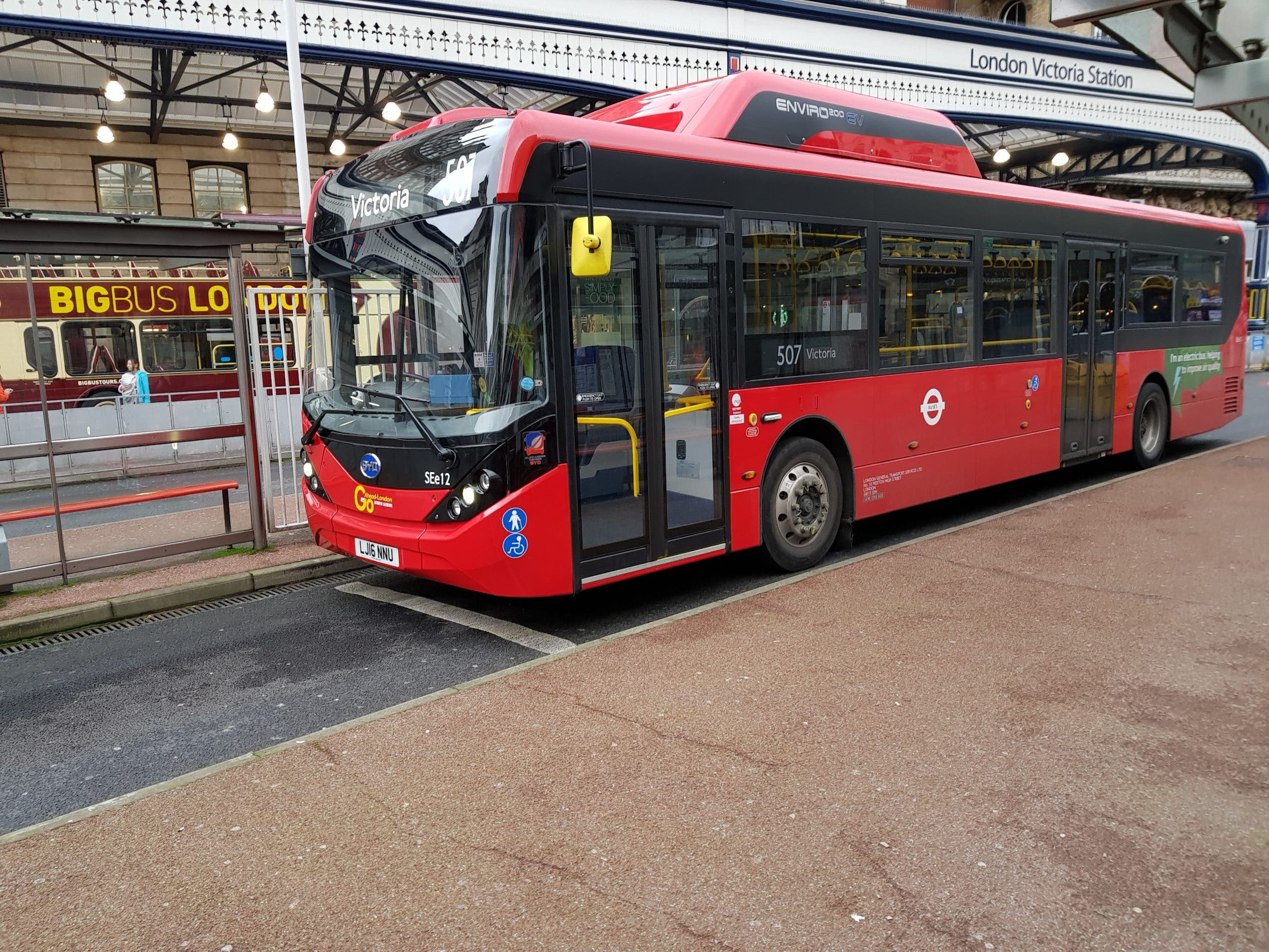 BYD electric buses at London Victoria Station