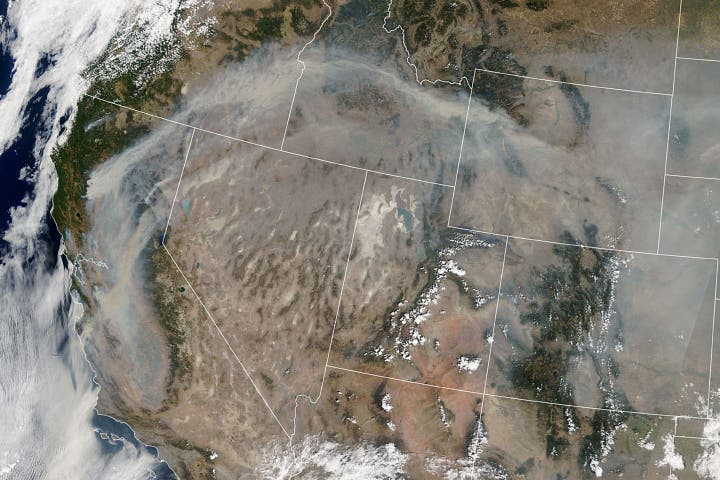 Smoke over California Aug 2020