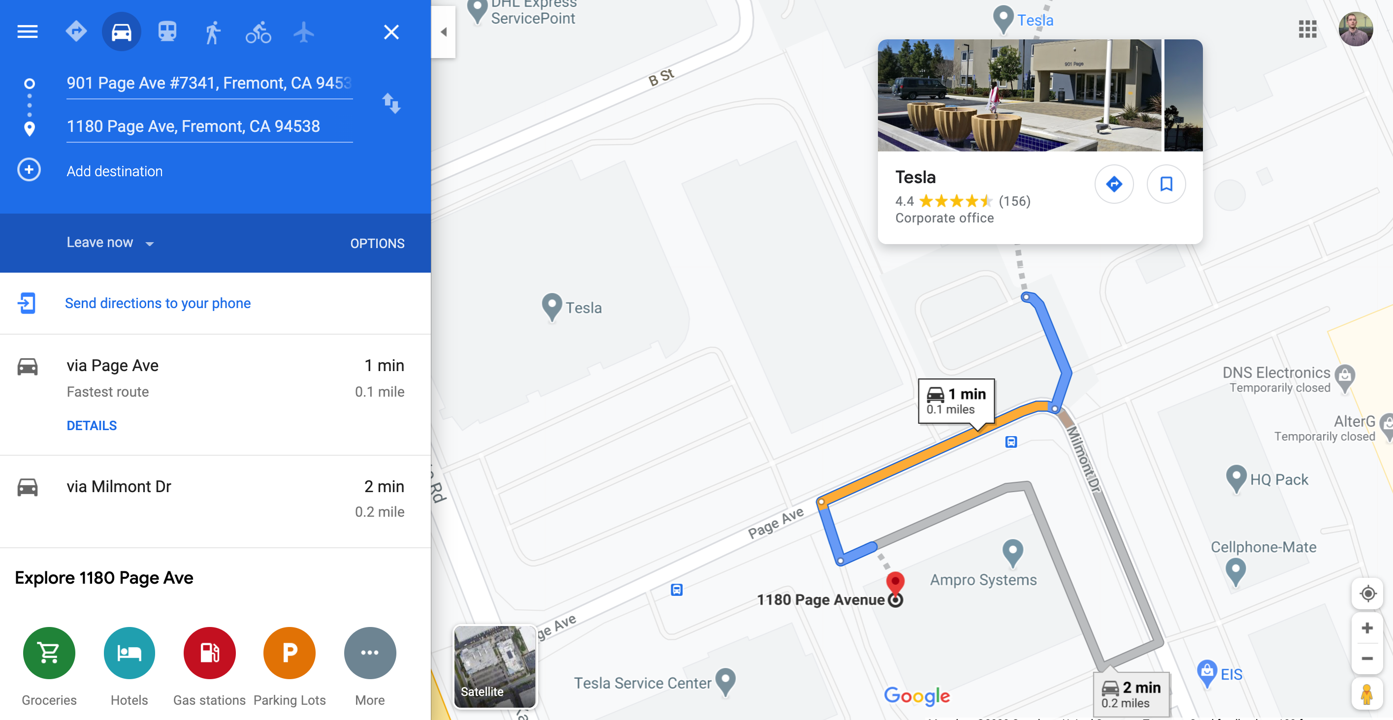 Tesla to Amprius directions in Google Maps