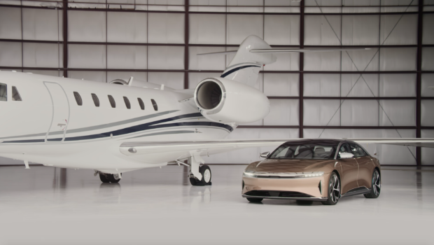 Lucid Air - next to private jet