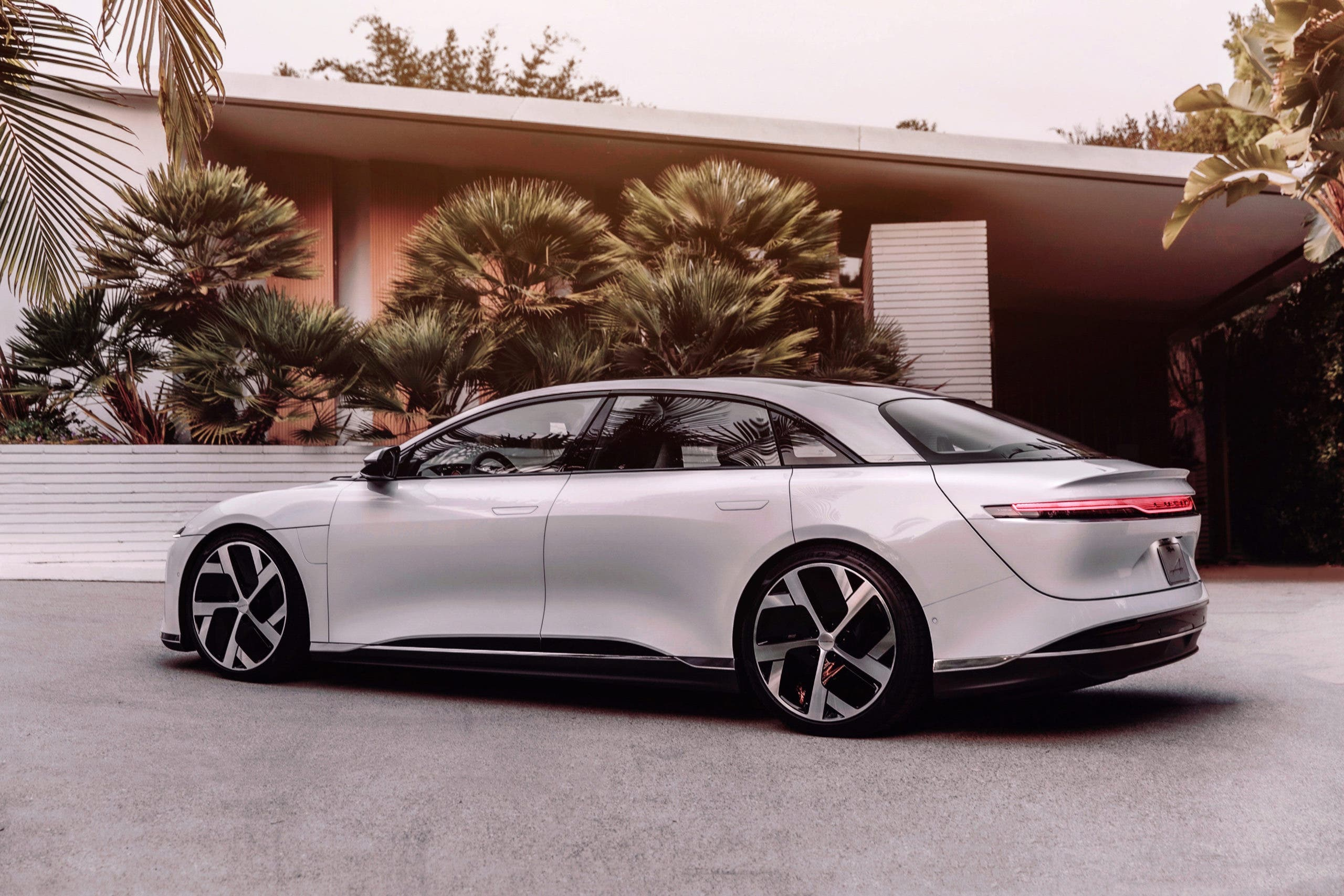 Lucid Air side view - white model