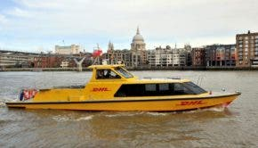 DHL cargo boat in London
