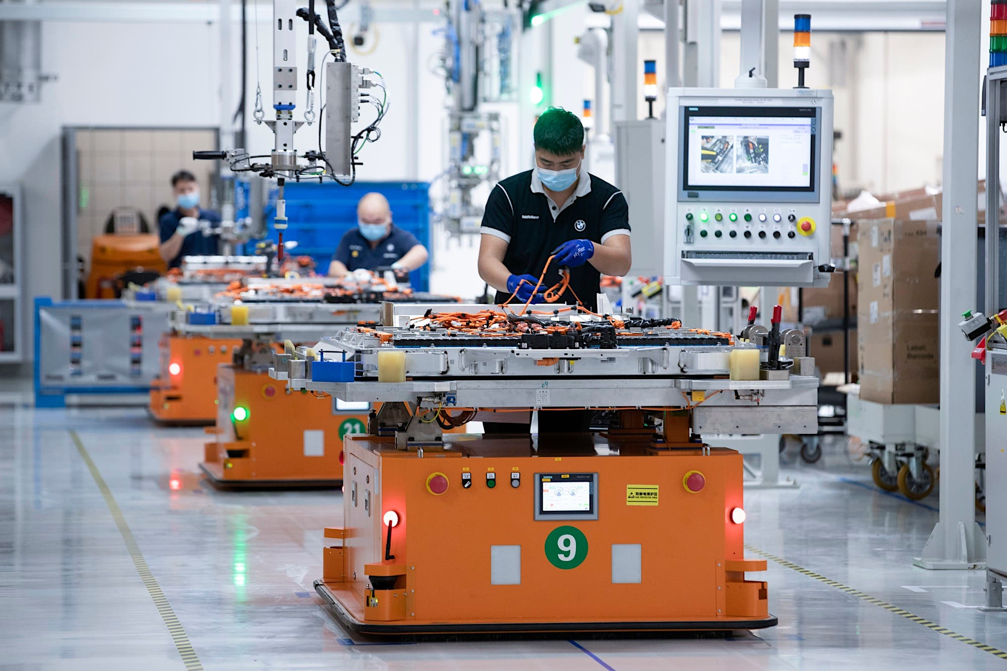 BMW iX3 electric SUV China battery production line