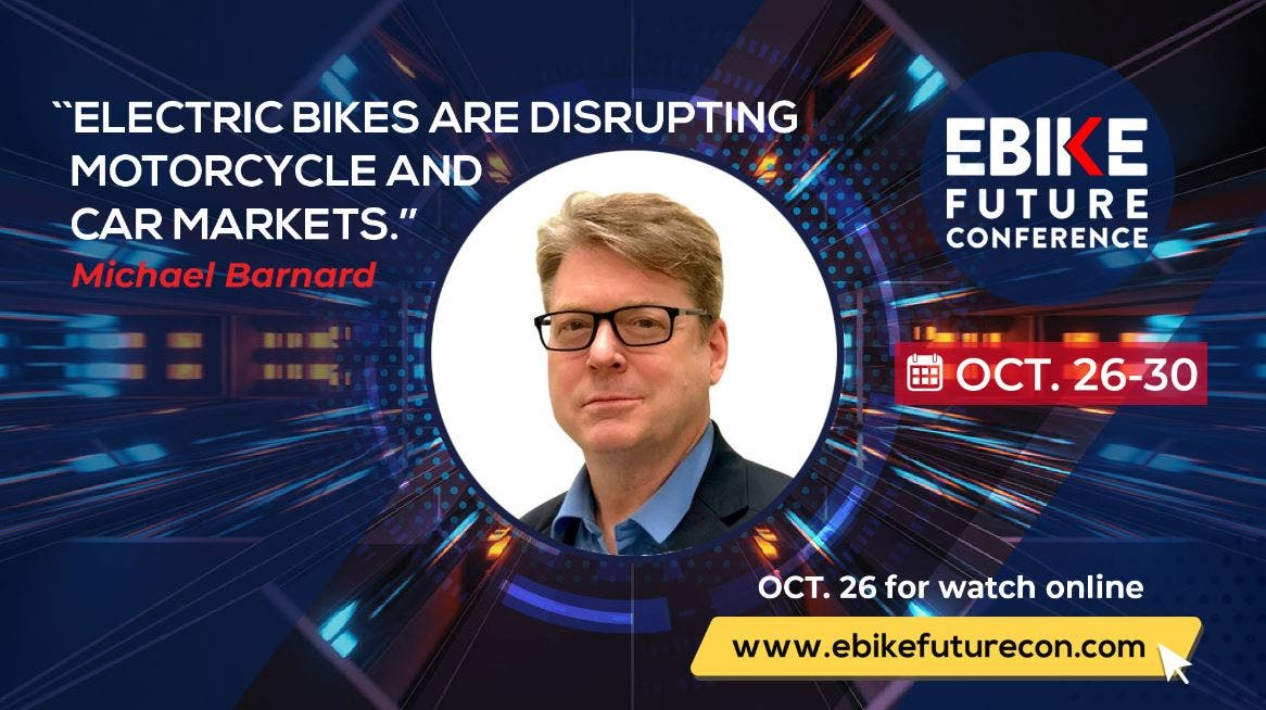 EBike Future Conference image featuring Michael Barnard's presentation