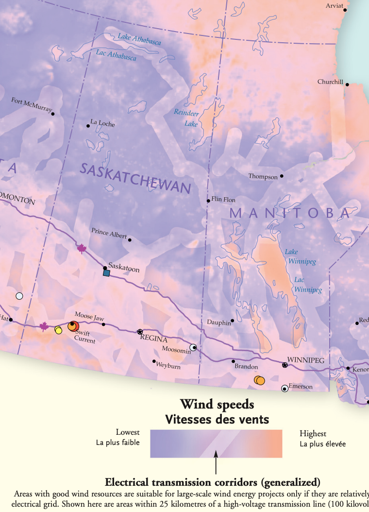 Map of Saskatchewan's wind energy potential and transmission corridors