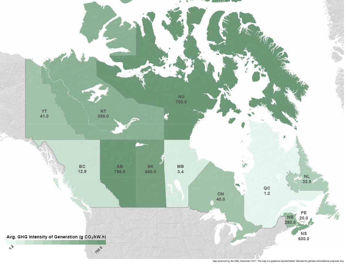 Map of Canada with grams of CO2 per kWh from grid electricity