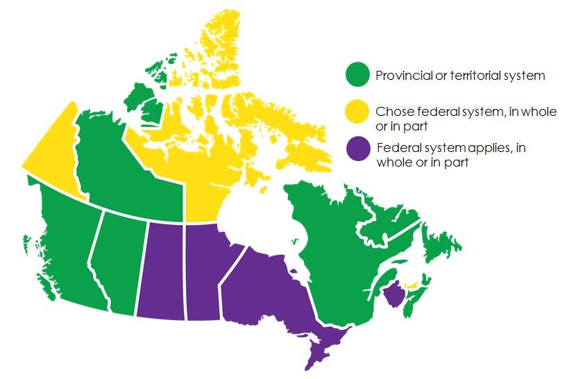 Map of Canada showing where federal or provincial carbon pricing system applies