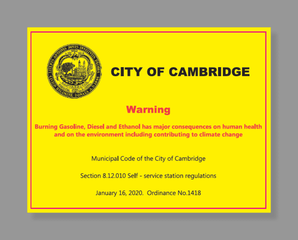 Cambridge gas pump warning label