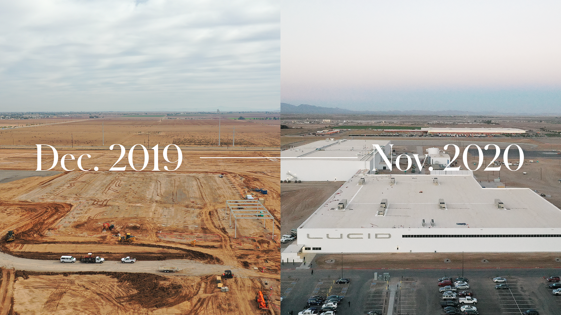 Lucid Motors Casa Grande factory before and after