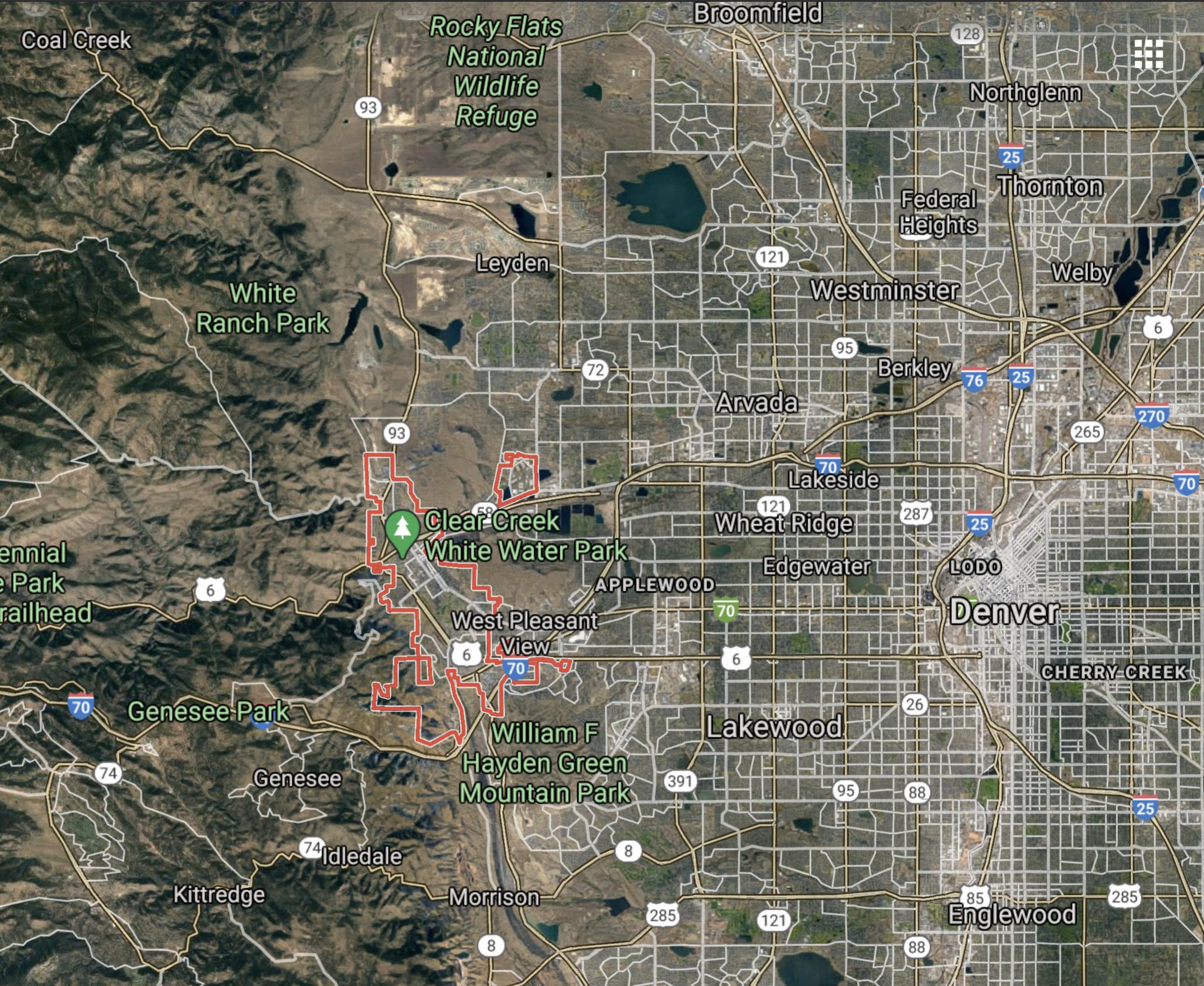Golden Colorado Map