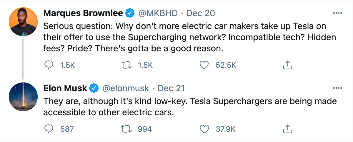 Marques Brownlee - Elon Musk Tweets opening up Supercharger network
