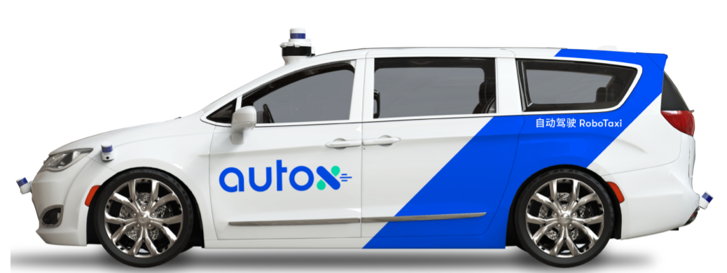 Picture of AutoX robotaxi, using Chrysler Pacifica van.