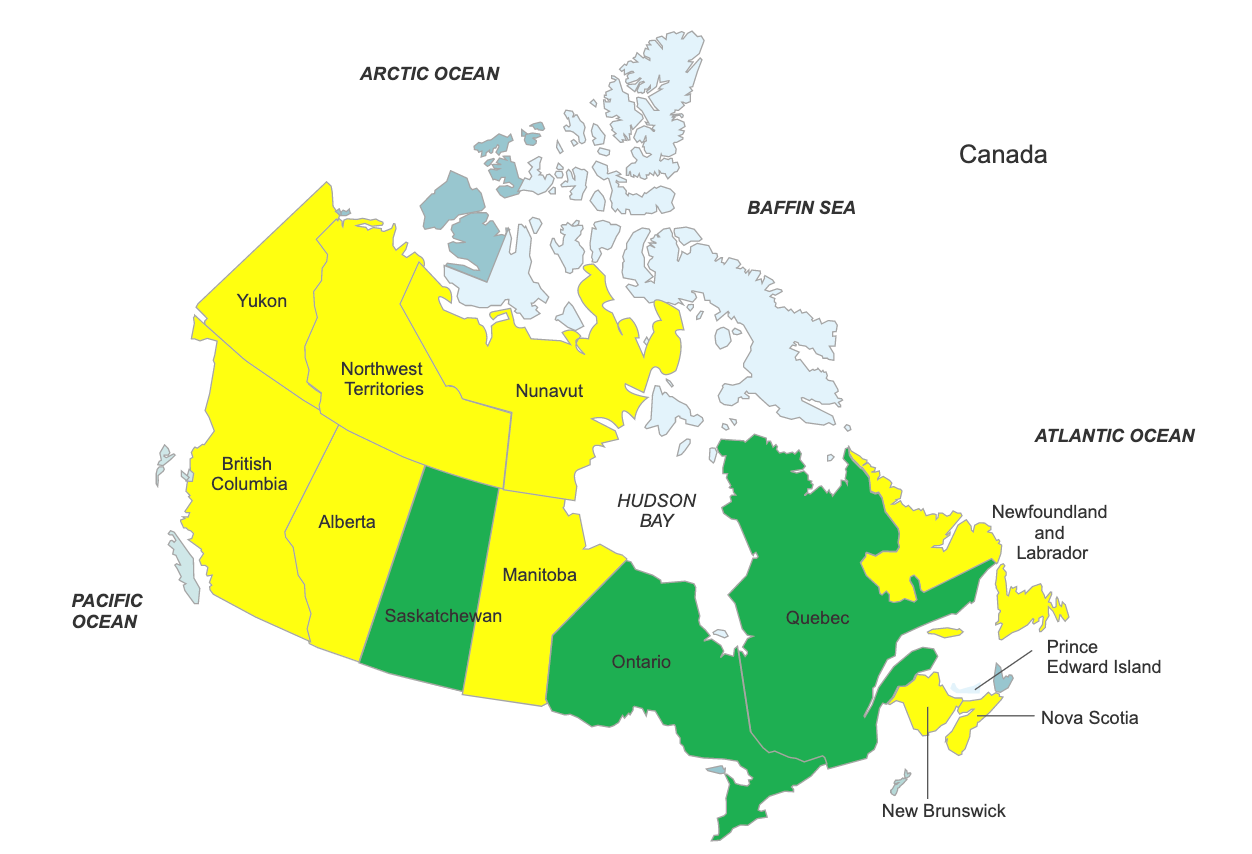 Map of Canada showing Saskatchewan, Ontario and Quebec as approving aquamation.