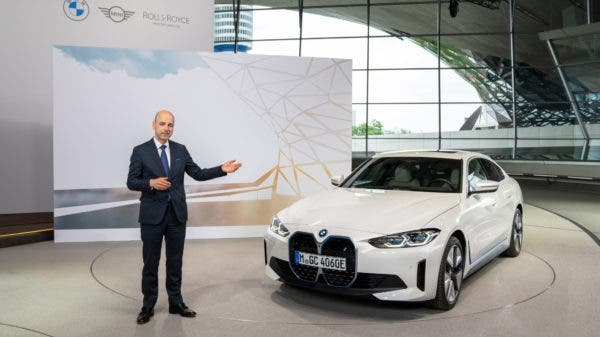 101st Annual General Meeting of BMW AG in Munich on 12th May 2021 (virtual AGM). Dr Nicolas Peter, Member of the Board of Management of BMW AG, Finance, with the BMW i4 (05/2021). BMW i4: This is a pre-production model, no homologation figures are available yet.