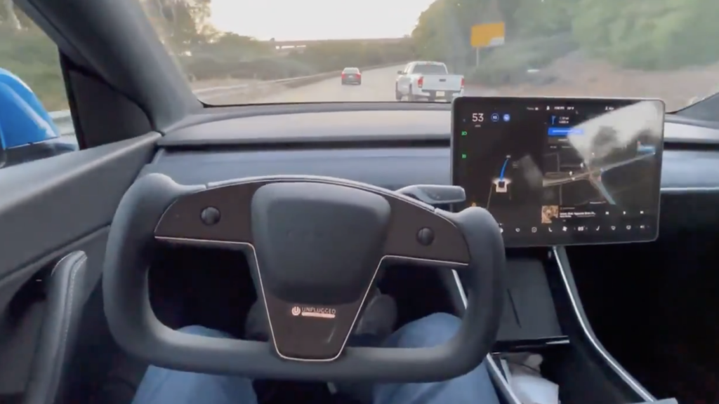 Unplugged Performance Tested A Tesla Model Y With The Yoke While Using FSD
