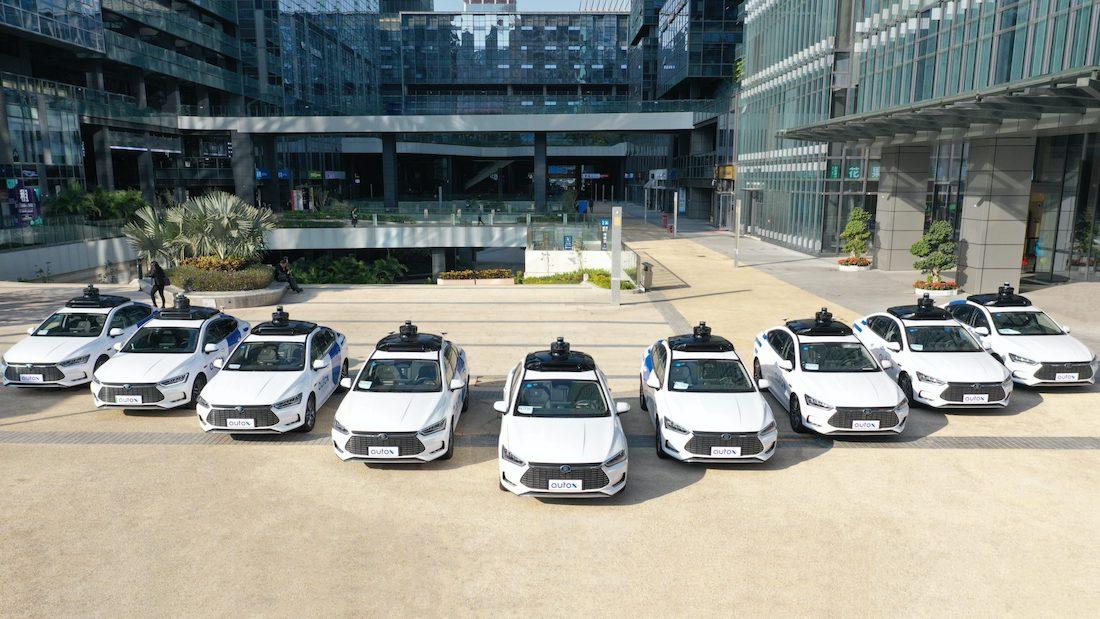 AutoX BYD robotaxi fleet in Shenzhen